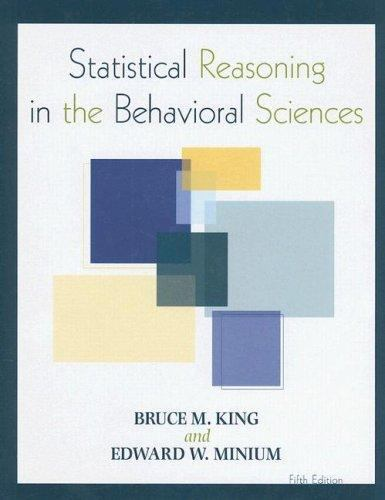 Statistical Reasoning in the Behavioral Sciences 5 ED by Edward W Minium 9780470134870