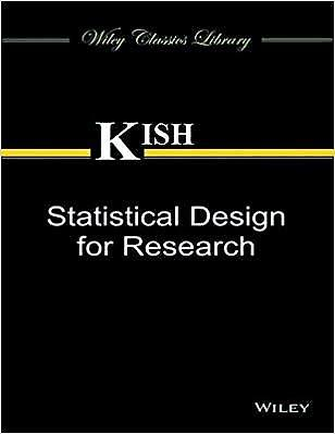 Statistical Design for Research 1 ED by Kish 9788126547036